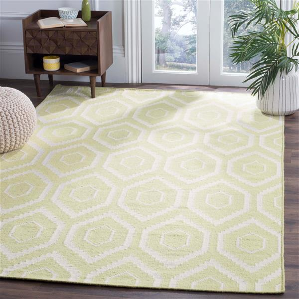 Safavieh Dhurries Rug - 3' x 5' - Wool - Green/Ivory