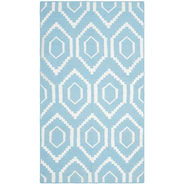 Safavieh Dhurries Rug - 3' x 5' - Wool - Blue/Ivory