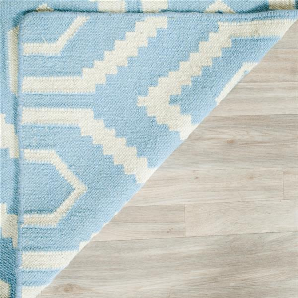 Dhurries Rug - 6' x 6' - Wool - Blue/Ivory