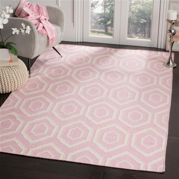 Dhurries Rug - 3' x 5' - Wool - Pink/Ivory