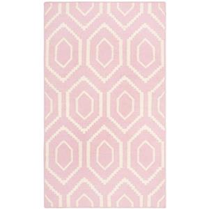 Dhurries Rug - 3' x 5' - Wool - Pink/Ivory