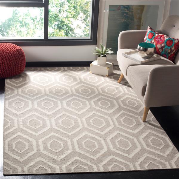 Safavieh Dhurries Rug - 2.5' x 4' - Wool - Gray/Ivory