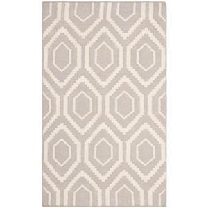 Dhurries Rug - 2.5' x 4' - Wool - Gray/Ivory
