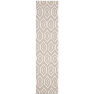Dhurries Rug - 2.5' x 6' - Wool - Gray/Ivory