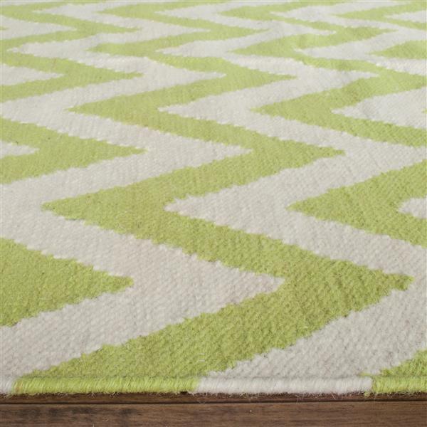 Safavieh Dhurries Rug - 2.5' x 8' - Wool - Green/Ivory