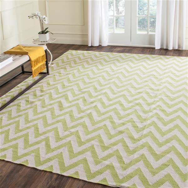 Safavieh Dhurries Rug - 3' x 5' - Wool - Green/Ivory