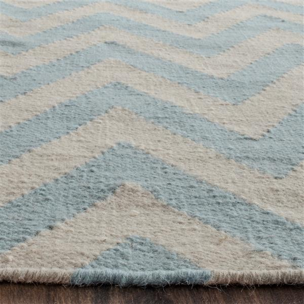 Safavieh Dhurries Rug - 2.5' x 8' - Wool - Blue/Ivory