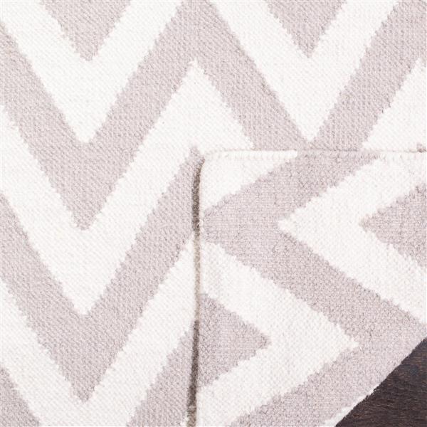 Safavieh Dhurries Rug - 3' x 5' - Wool - Gray/Ivory