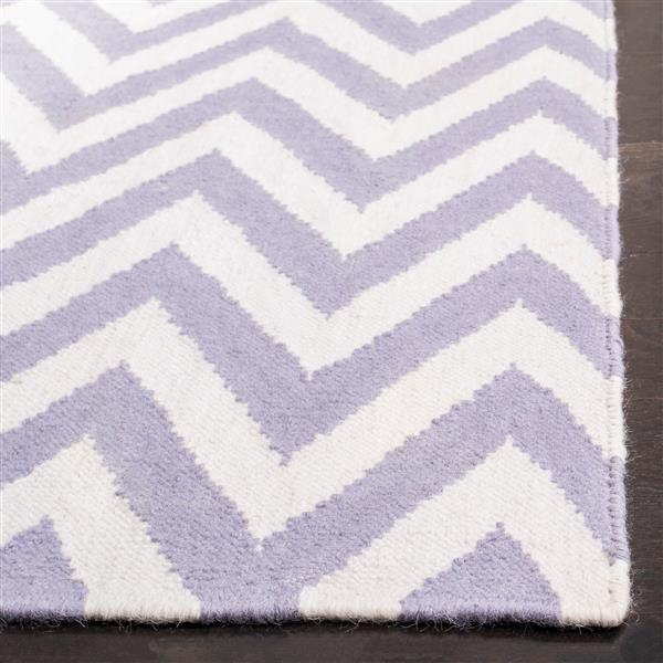 Dhurries Rug - 3' x 5' - Wool - Purple/Ivory