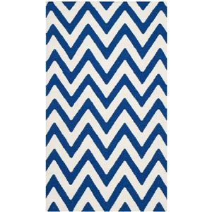 Dhurries Rug - 3' x 5' - Wool - Dark Blue/Ivory