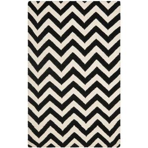 Dhurries Rug - 2.5' x 4' - Wool - Black/Ivory