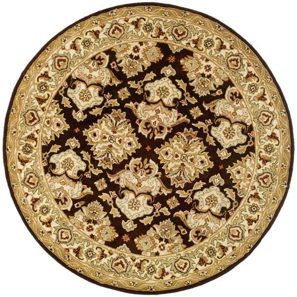 Safavieh Heritage Rug - 8' x 8' - Wool - Espresso/Ivory