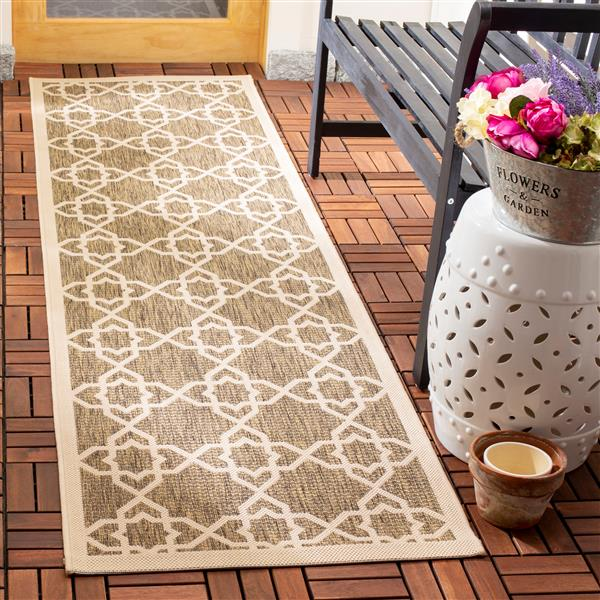 Safavieh Courtyard Rug - 2.3' x 8' - Polypropylene - Brown/Beige