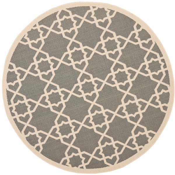 Safavieh Courtyard Rug - 5.3' x 5.3' - Polypropylene - Gray/Beige