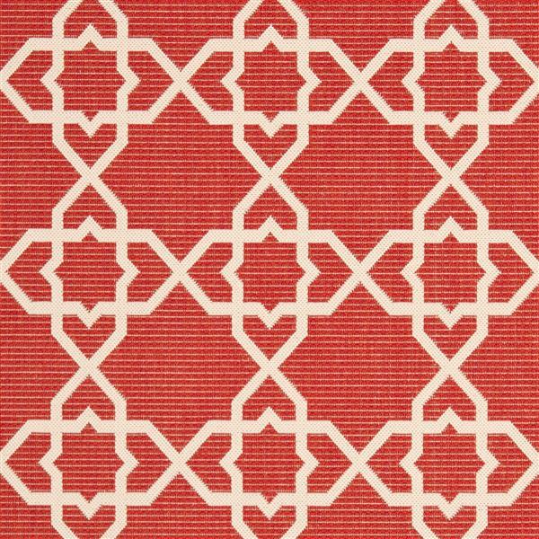 Safavieh Courtyard Rug - 4' x 5.6' - Polypropylene - Red/Beige