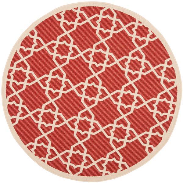 Safavieh Courtyard Rug - 5.3' x 5.3' - Polypropylene - Red/Beige