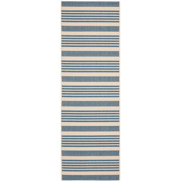 Safavieh Courtyard Rug - 2.3' x 12' - Polypropylene - Beige/Blue