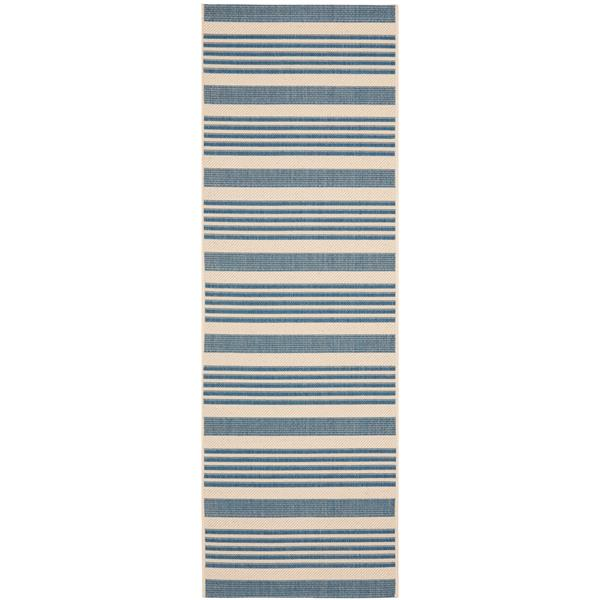Safavieh Courtyard Rug - 2.3' x 8' - Polypropylene - Beige/Blue