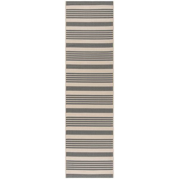 Safavieh Courtyard Rug - 2.3' x 10' - Polypropylene - Ivory/Gray