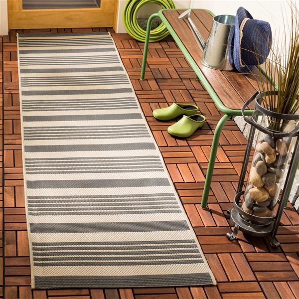 Safavieh Courtyard Rug - 2.3' x 12' - Polypropylene - Ivory/Gray
