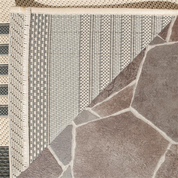 Safavieh Courtyard Rug - 2.3' x 8' - Polypropylene - Ivory/Gray