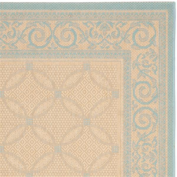 Safavieh Courtyard Rug - 5.3' x 7.6' - Polypropylene - Cream/Aqua