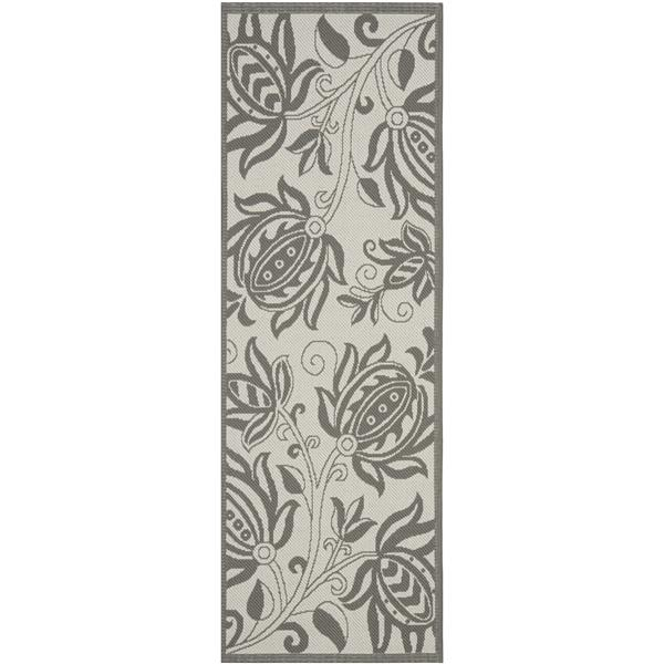 Safavieh Courtyard Rug - 2.3' x 6.6' - Polypropylene - Light Gray