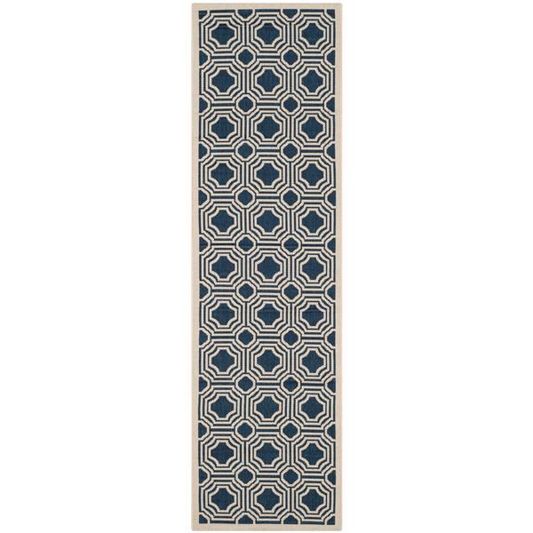 Safavieh Courtyard Rug - 2.3' x 8' - Polypropylene - Navy Blue