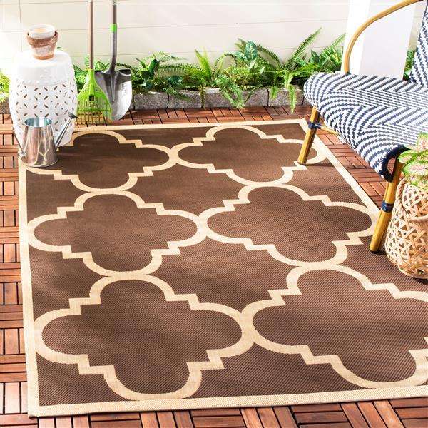 Safavieh Courtyard Rug - 4' x 5.6' - Polypropylene - Dark Brown
