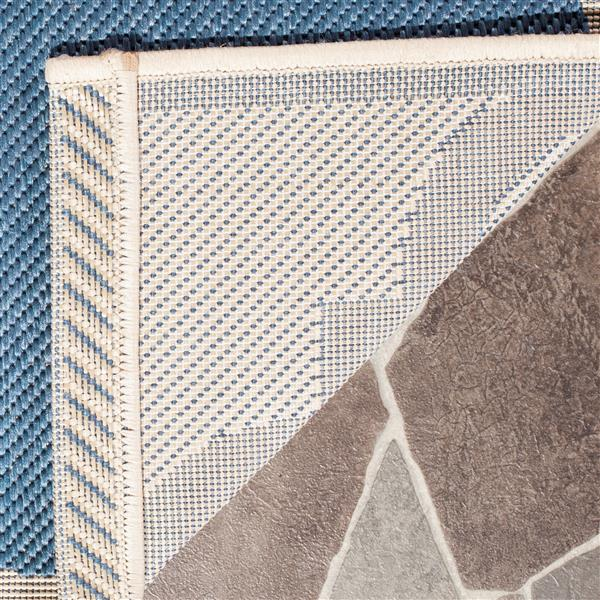 Safavieh Courtyard Rug - 2.3' x 8' - Polypropylene - Blue/Beige