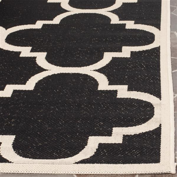 Safavieh Courtyard Rug - 2.3' x 8' - Polypropylene - Black/Beige