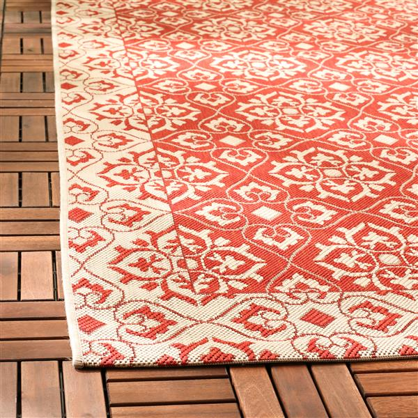 Safavieh Courtyard Rug - 2.3' x 6.6' - Polypropylene - Red/Cream