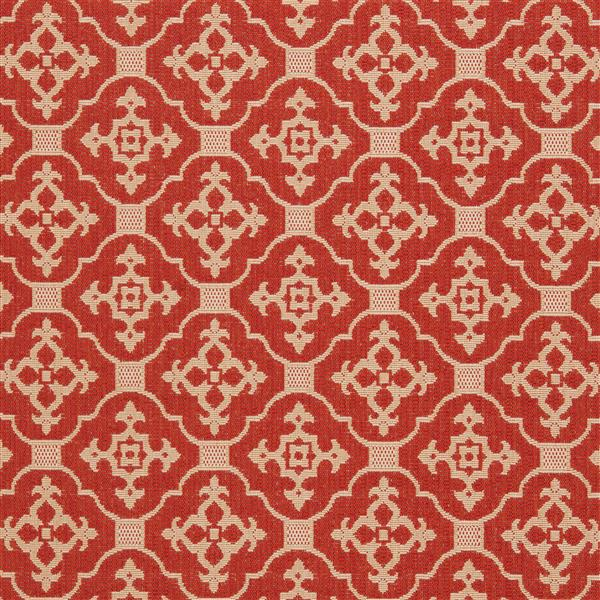 Safavieh Courtyard Rug - 4' x 5.6' - Polypropylene - Red/Cream