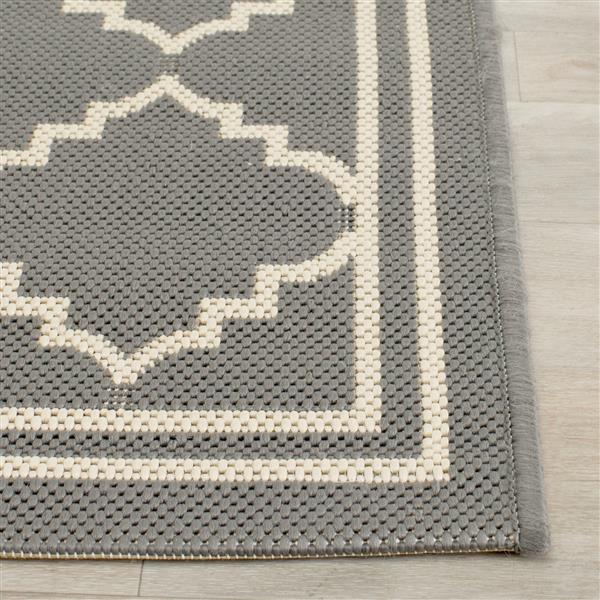Safavieh Courtyard Rug - 5.3' x 7.6' - Polypropylene - Gray/Beige