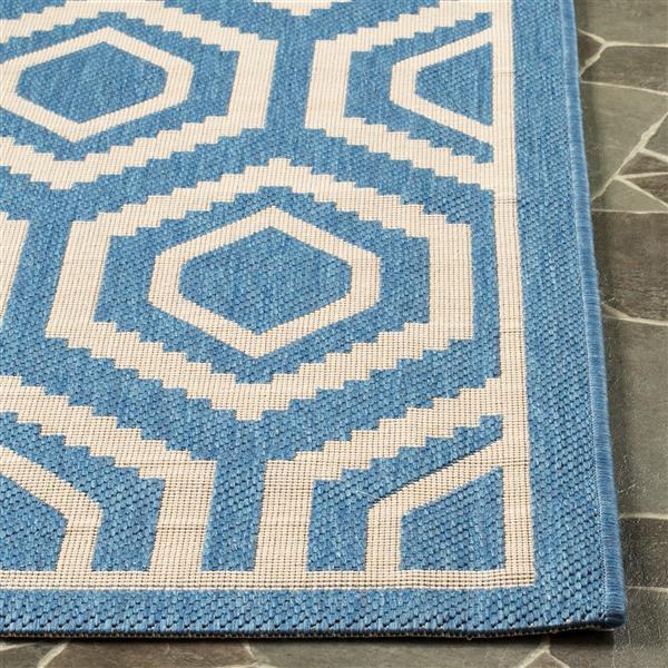 Safavieh Courtyard Rug - 4' x 5.6' - Polypropylene - Blue/Beige