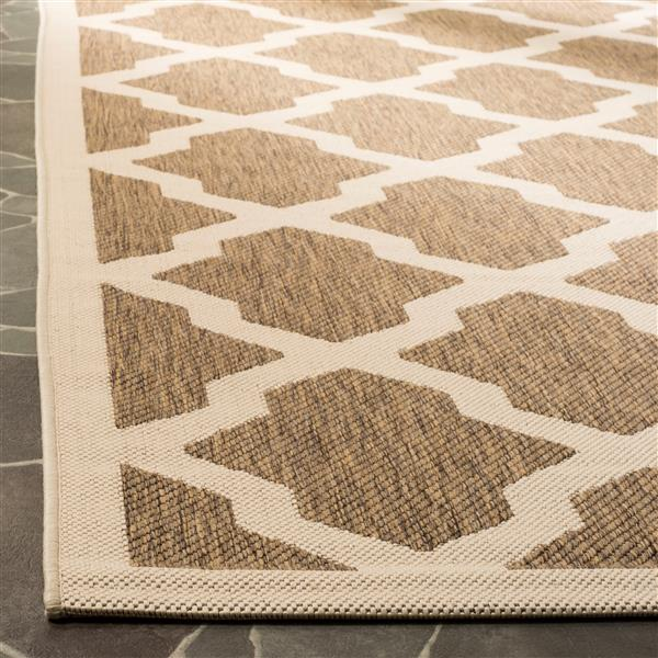 Safavieh Courtyard Rug - 2.6' x 5' - Polypropylene - Brown/Ivory