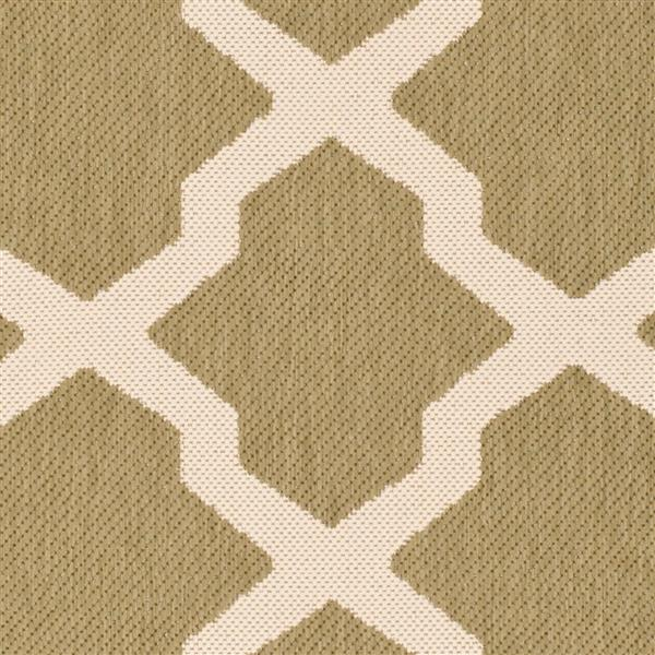 Safavieh Courtyard Rug - 4' x 5.6' - Polypropylene - Green/Beige