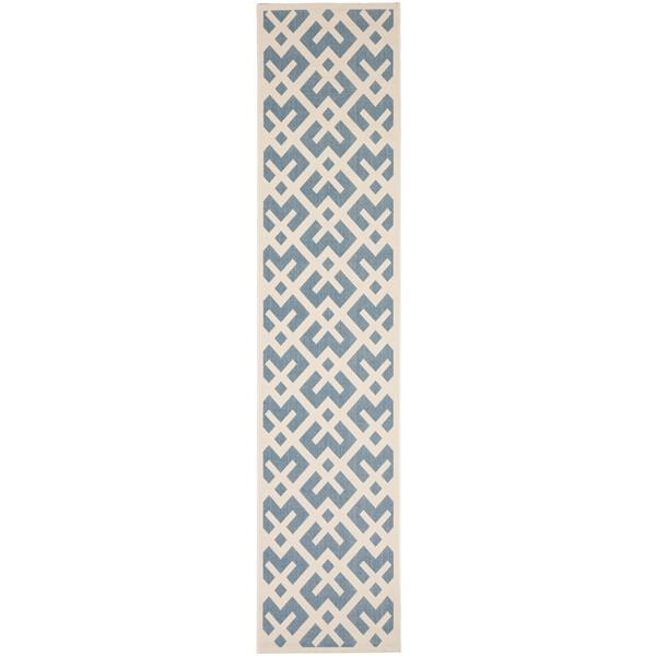 Safavieh Courtyard Rug - 2.3' x 10' - Polypropylene - Blue/Ivory