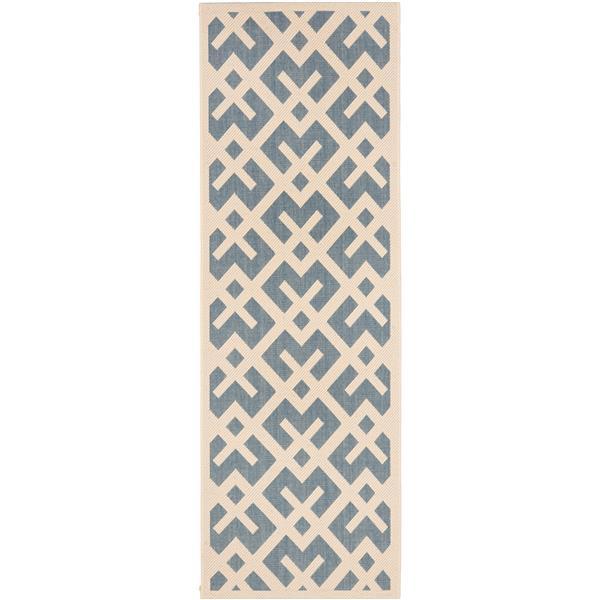 Safavieh Courtyard Rug - 2.3' x 8' - Polypropylene - Blue/Ivory