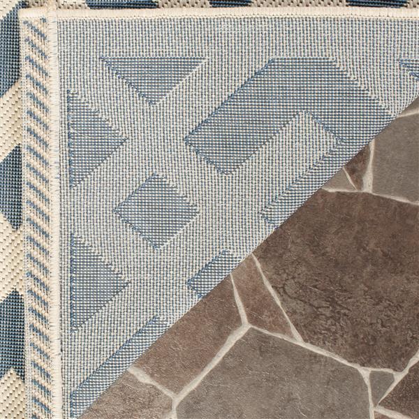 Safavieh Courtyard Rug - 2.6' x 5' - Polypropylene - Blue/Ivory