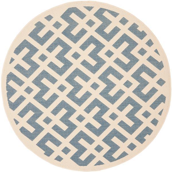 Safavieh Courtyard Rug - 5.3' x 5.3' - Polypropylene - Blue/Ivory