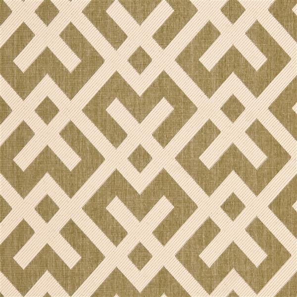Safavieh Courtyard Rug - 5.3' x 7.6' - Polypropylene - Green/Ivory