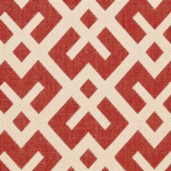 Safavieh Courtyard Rug - 2.3' x 12' - Polypropylene - Red/Ivory