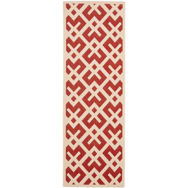 Safavieh Courtyard Rug - 2.3' x 6.6' - Polypropylene - Red/Ivory