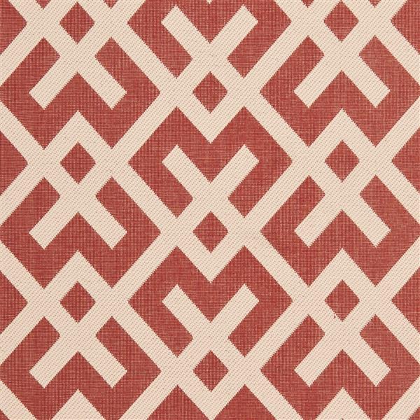 Safavieh Courtyard Rug - 5.3' x 5.3' - Polypropylene - Red/Ivory
