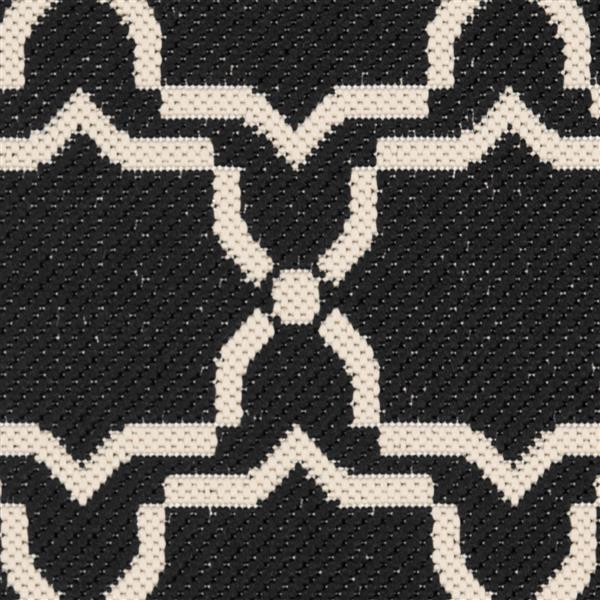 Safavieh Courtyard Rug - 2.3' x 10' - Polypropylene - Black/Beige