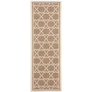 Safavieh Courtyard Rug - 2.3' x 10' - Polypropylene - Brown/Ivory