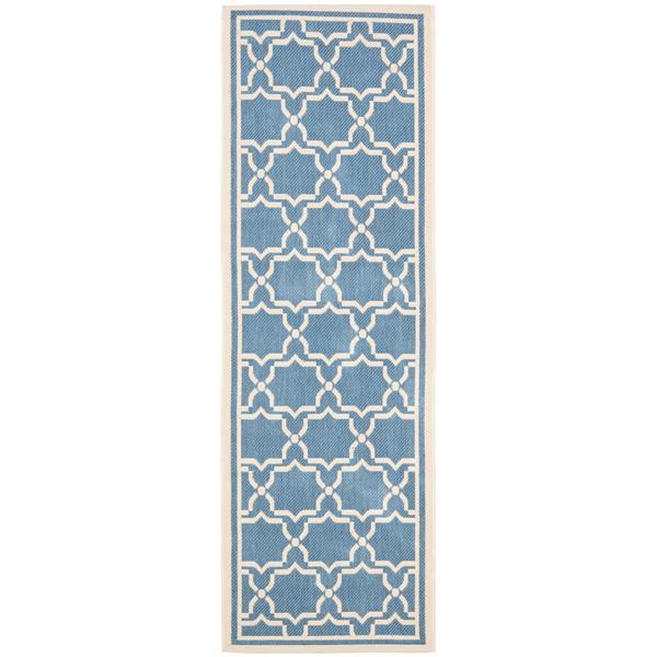 Safavieh Courtyard Rug - 2.3' x 10' - Polypropylene - Blue/Beige