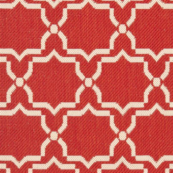 Safavieh Courtyard Rug - 2.3' x 8' - Polypropylene - Red/Ivory