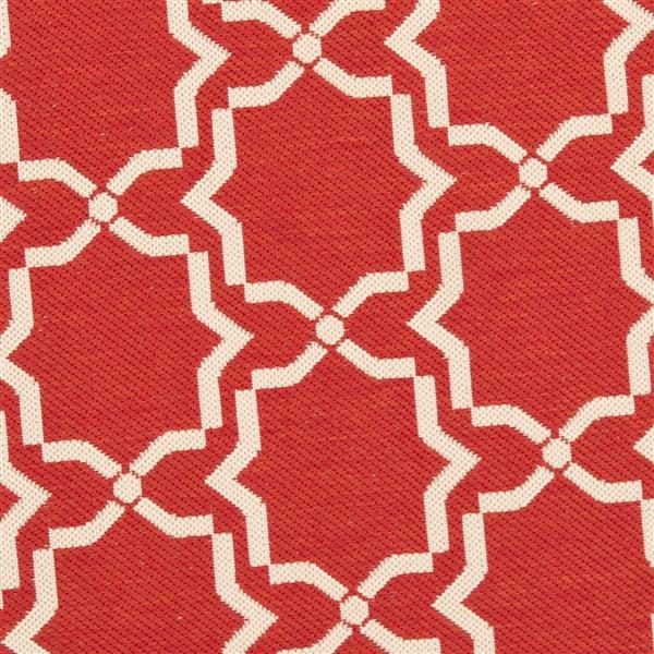 Safavieh Courtyard Rug - 4' x 5.6' - Polypropylene - Red/Ivory